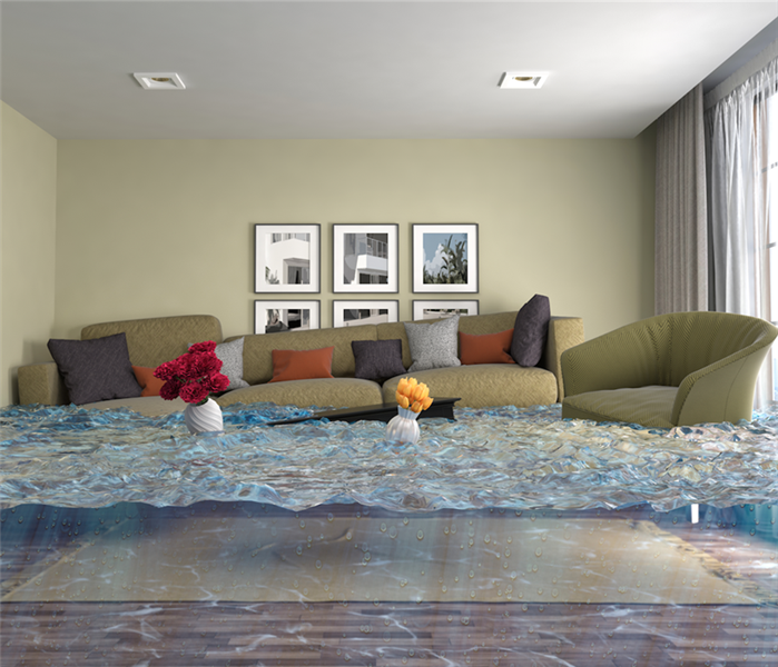 flooded living room with couches